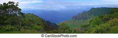 Beautiful View of Kauai Coastline in Hawaii - Panoramic View...