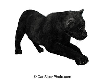 3D Rendering Black Panther on White - 3D rendering of a...