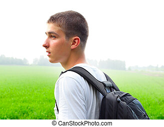 Young Man outdoor - Young Man with Knapsack in the Summer...