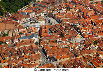 Aerial view of the Council square of Brasov city, Romania