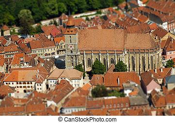 European medieval city view. Miniature tilt shift lens effect