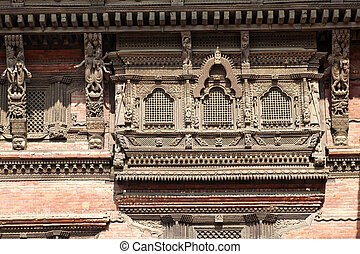 Ancient Windows, Kathmandu Durbar Square, Nepal - Image of...
