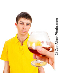 Young Man with Alcohol - Hesitant Young Man with Alcohol...