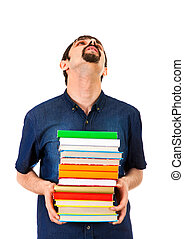 Tired Man with a Books - Tired Man with the Books Isolated...