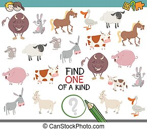 one of a kind game for children - Cartoon Illustration of...