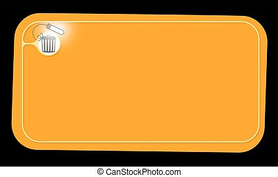 Vector orange frame and trashcan with lighting