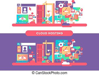 Cloud hosting design. Web computing, technology internet and...