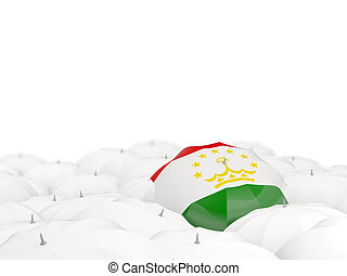 Umbrella with flag of tajikistan isolated on white. 3D...