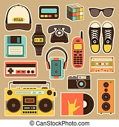 Vector old style equipments, accessories and things icons...