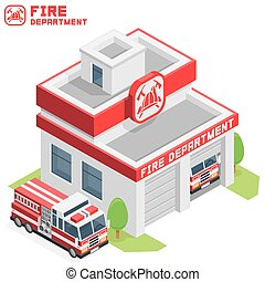 Fire Department building - Vector isometric fire department...