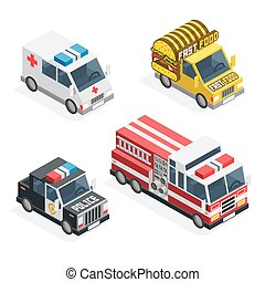 Set of the isometric cars