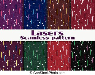 Seamless patterns with laser beams. Background in the retro style of the 80s. Vector illustration