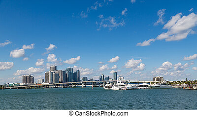 Bridge Over Biscayne Bay - View of the Miami skyline from...