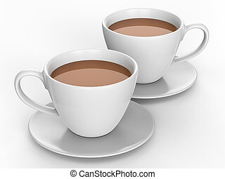 3D illustration two white cups and saucers with tea coffee...