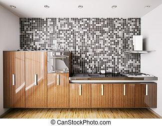 Interior of modern kitchen 3d - Interior of modern kitchen...