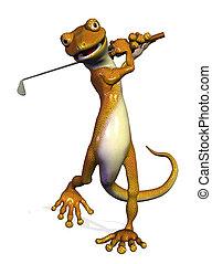 Golfing Gecko - 3D render