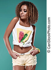 Glamor swag black hipster woman model with curly hair -...