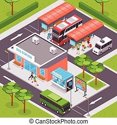 Bus Station Isometric Illustration - Bus station isometric...