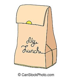 My Lunch illustration. Paper food bag with an inscription. Realistic hand drawn sketch.