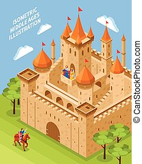 Royal Castle Composition - Isometric royal castle...