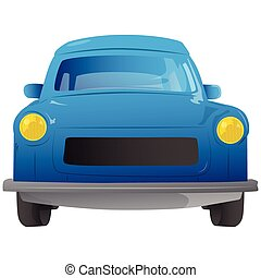 Cartoon 90s European car front view - Vector illustrated...