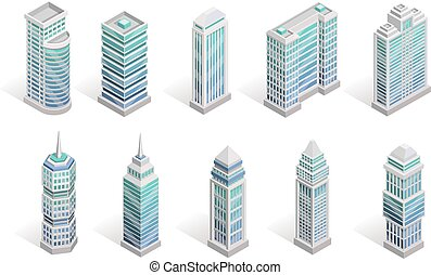 City Houses Set - City houses isometric set with different...
