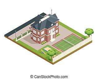 Suburb House Isometric Composition - Suburb house isometric...