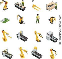 Robotic Machinery Isolated Symbols - Electronics factory...