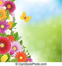 Spring Time Postcard With Butterfly With Gradient Mesh,...