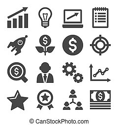 Startup Business Icons Set. Vector