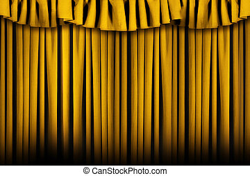 Beautiful Draped Golden Stage Theater - Gold Colored Stage...