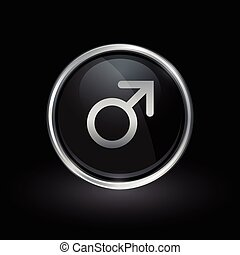 Male gender icon inside round silver and black emblem