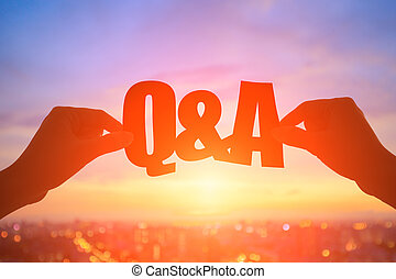 silhouette q and a - silhouette of hand take q and a word...