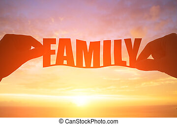 silhouette of family word