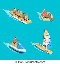 Water Riding People Set - Sea activities people composition...
