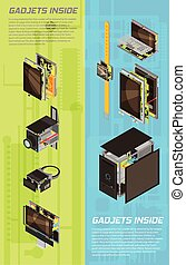 Gadgets Scheme Banner Set - Two vertical isolated and...
