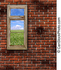 Red Grunge Brick Wall Frame Background Texture - Red Brick...