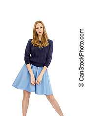 beautiful young blonde girl in blue dress and blouse - mage...