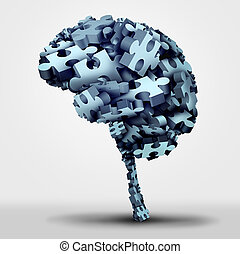 Brain Puzzle - Brain puzzle concept and neurological or...