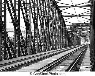 Old metal Railway bridge in Vyton, Prague, Czech Republic....