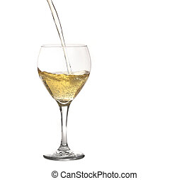 Glass of Sparkling Wine or Champagne Being Poured on White...
