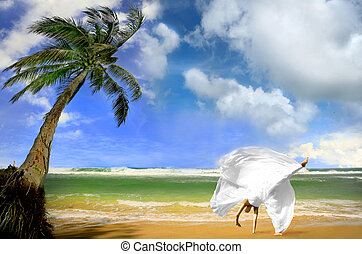 Getting Married in Kauai Hawaii - Happy Bride on a Beach in...