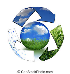 Take Care of Mother Earth Concept - Abstract Recycling...
