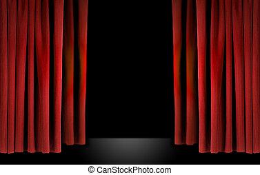 elegante, teatro, etapa, rojo, terciopelo, cortinas