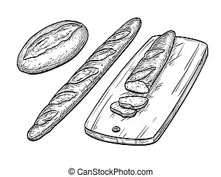 Baguette and rustic bread. Hand drawn vector illustration....