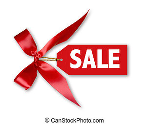 Sales Tag With Big Red Ribbon Bow Tied on White WIth Shadow