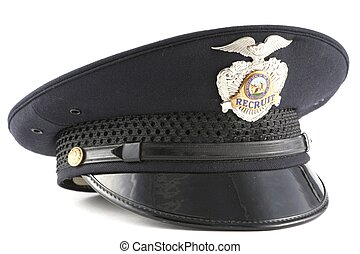 Police Officer Recruit Hat with Badge on White Background