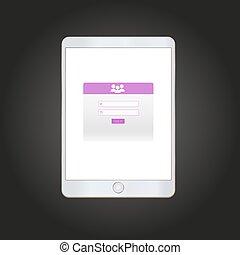 Log in form on tablet