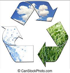 reciclagem, mantendo, meio ambiente, limpo