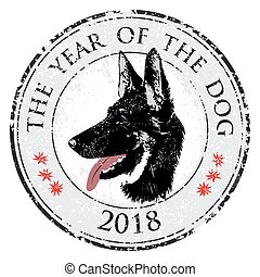 Puppy animal tattoo of Chinese New Year of the Dog grunge vector file head shepherd stamp.